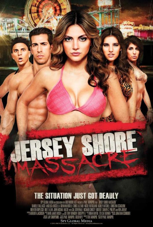 JERSEY SHORE MASSACRE, poster art, from left: Chris Lazzaro, Giovanni Roselli, Danielle Dallacco,