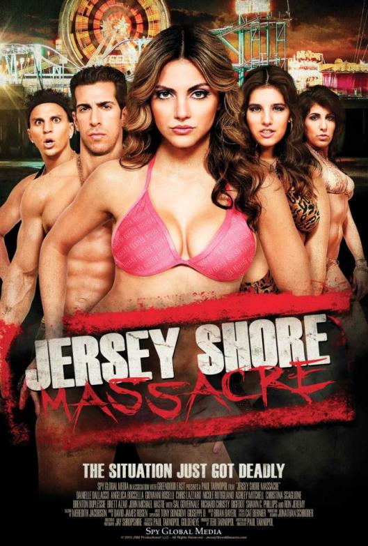 JERSEY SHORE MASSACRE, poster art, from left: Chris Lazzaro, Giovanni Roselli, Danielle Dallacco,