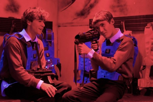 JAMIE BLACKLEY (Mark) (L) & TOBY REGBO (John) (R) in UWANTME2KILLHIM? (c) 2011 U Want M2K Ltd. Photo by Mark Tillie
