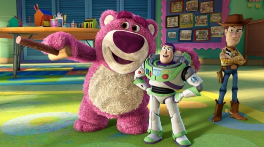 TOY STORY 3 (L-R) Lots-o'-Huggin' Bear, Buzz Lightyear, Woody ©Disney/Pixar. All Rights Reserved.